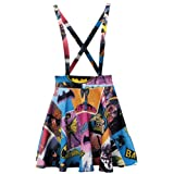 Printed Batman Comic Book Batgirl Dungaree Skater Skirt Dress Womens Purple Size 10