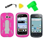 Heavy Duty Hybrid Phone Cover Case Cell Phone Accessory + Extreme Band + Stylus Pen + LCD Screen Protector + Yellow Pry Tool For Straight Talk Net10 Huawei Ascend Y M866 H866C / Huawei Ascend Y 201 U8666 (Pink/White)