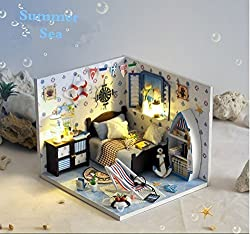 Diy Handcraft Wooden Doll House Miniature Bedroom Led Lights Music Box A Great Gift (Summer Sea)
