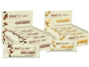 thinkThin Chocolate Espresso and Chunky Peanut Butter Variety Pack, Two boxes of 10 bars, (One Box of Each)