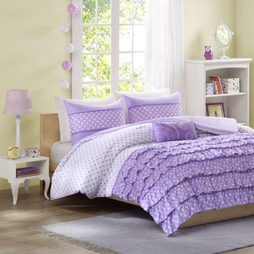 Beautiful Purple White Dots Ruffle Pleat Textured Girls Comforter Set W/ Pillow front-969642