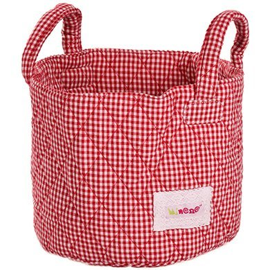 Minene Uk Ltd Small Storage Basket with Gingham (Red)