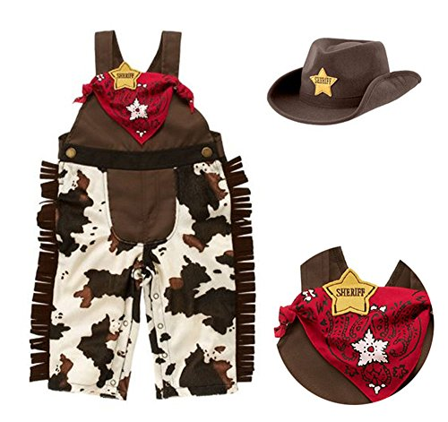 StylesILove Sheriff Cowboy Overalls, Hat and Handkerchief 3-pc Costume Outfit for Toddler Boy (6-12 Months)