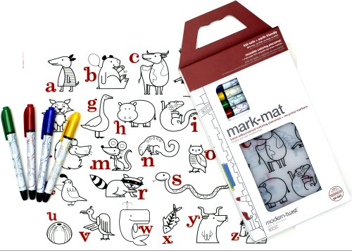 modern-twist Kids Mark-Mat Silicone Coloring Placemat with 4 Dry-Erase Markers, Alphabet Animals