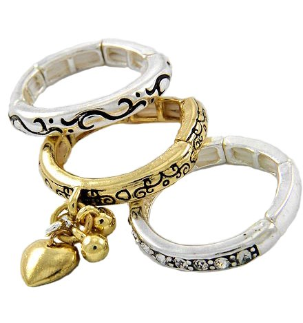 Two-Tone Metal Heart Charm 3-Piece Stackable Stretch Ring