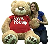 BigPlush-T-shirt-I-LOVE-YOU-Giant-Teddy-Bear-Five-Feet-Tan