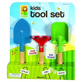 Toysmith Kids 3-Piece Garden Tool Set