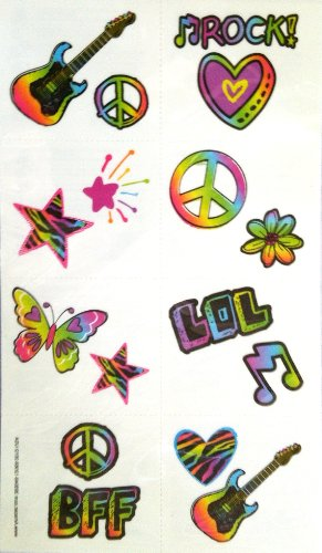 Amscan Groovy Neon Temporary Tattoo Value Pack (16 Piece), Multi - 1