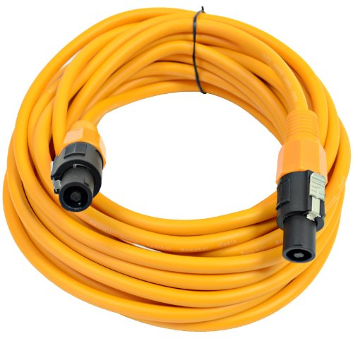 Seismic Audio - Tw12S35Orange - 12 Gauge 35 Foot Orange Speakon To Speakon Professional Speaker Cable - 12Awg 2 Conductor Speaker Cable