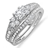 1.10 Carat (ctw) 14k White Gold Round Diamond Ladies Bridal Ring Engagement Matching Wedding Band Set