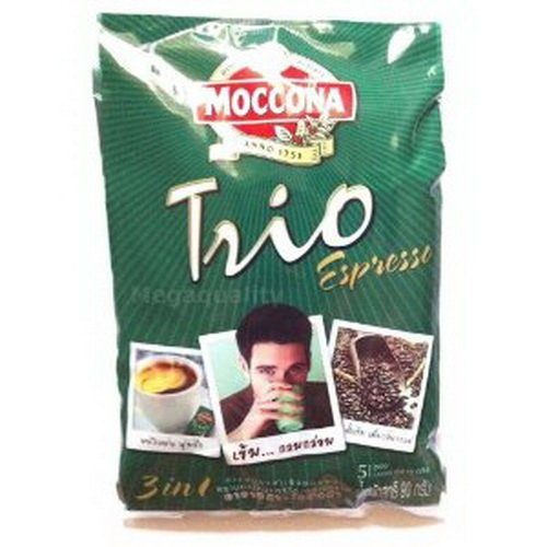 Moccona Trio Instant Coffee Mix Powder 3 in 1 Expresso (18 G. X 5 Sticks) Product of Thailand.