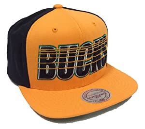 Mitchell & Ness Linear Milwaukee Bucks Yellow & Black Snapback by Mitchell & Ness