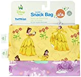 Bumkins Disney Baby Reusable Snack Bag, Purple Princess/Belle, Small, 2 Count by Disney