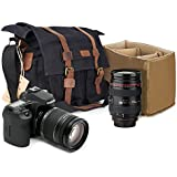 Kattee Canvas Cow Leather DSLR SLR Vintage Camera Shoulder Messenger Bag