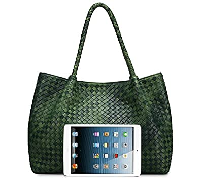 Genuine Leather Lambskin Handmade Knitted Large Day Bag Tote Bag Ttc-vi-7252