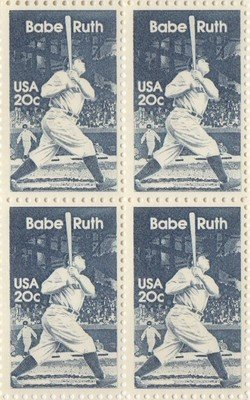 Babe Ruth Set of 4 x 20 Cent US Postage Stamps NEW Scot 2046