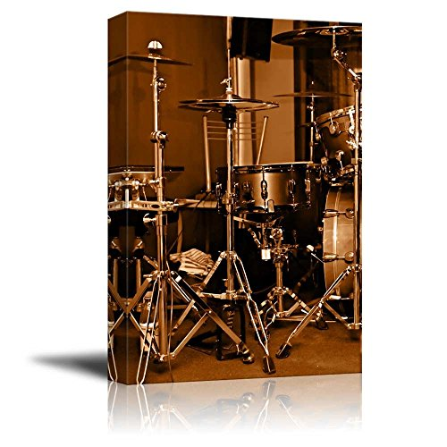 canvas-prints-wall-art-drum-kit-drum-set-with-gilded-color-vintage-retro-style-modern-wall-decor-hom
