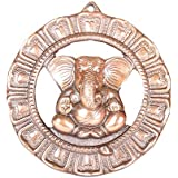 APKAMART Handcrafted Lord Ganesh Wall Hanging - Seated Ganpati In Round Plate - 8 Inch Height - Handicraft Wall Showpiece For Wall Decor, Room Decor, Home Decor And Gifts