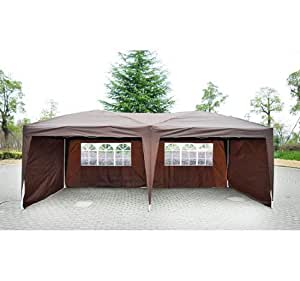 Outsunny Easy Pop Up Canopy Party Tent, Coffee Brown with 4 Removable Sidewalls, 10-Feet x 20-Feet
