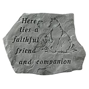Here Lies A Faithful Friend Pet Memorial Garden Accent Stone – Cat