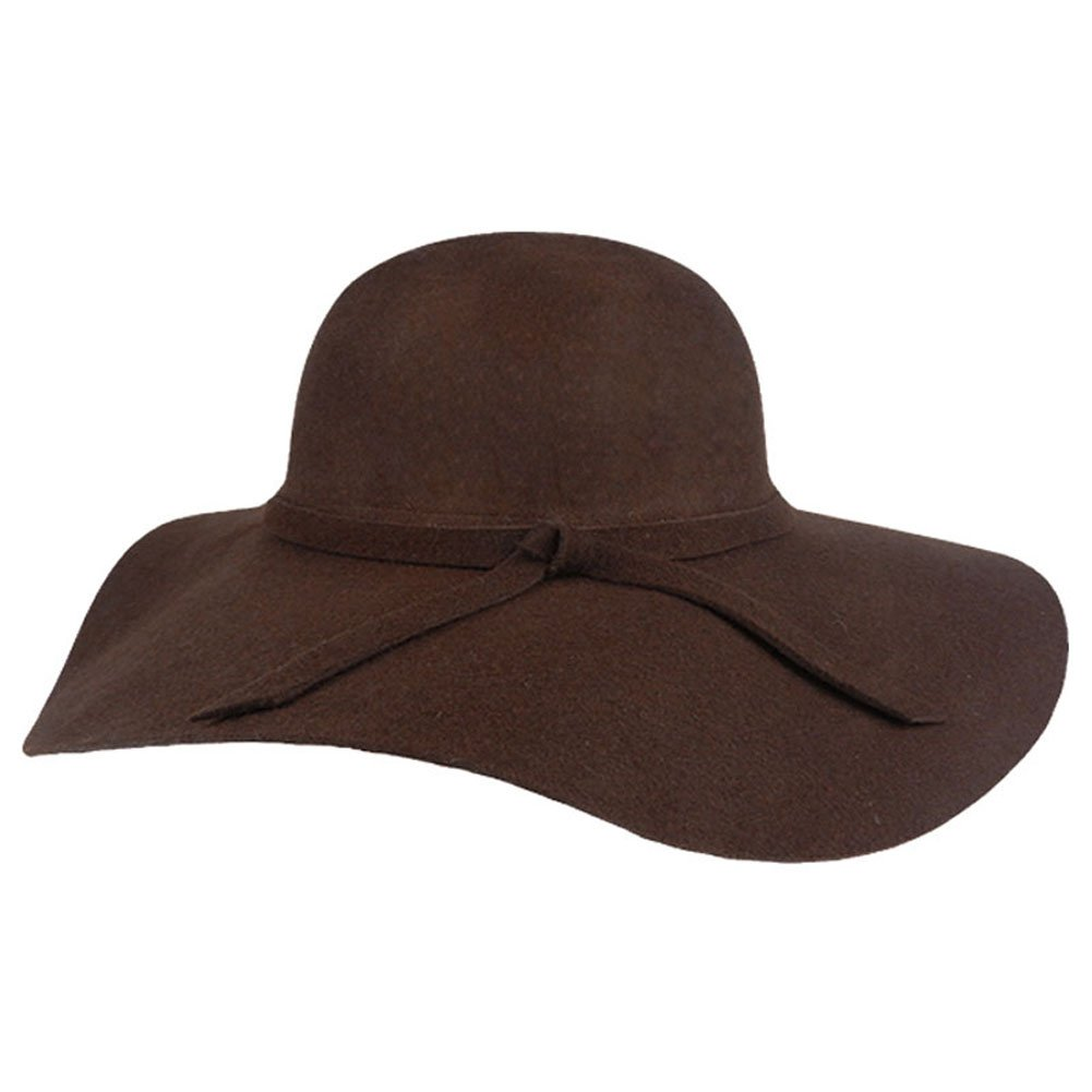 FUNOC Fashion Vintage Women Ladies Floppy Wide Brim Wool Felt Fedora Cloche Hat Cap 0