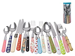 Present time mix and match mutlicolored assorted cutlery set 16 piece flatware - Funky flatware sets ...