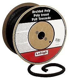 Crawford-Lehigh BKSBP860 3/8-Inch-by-600-Foot Solid Braid Derby Poly Rope, Black