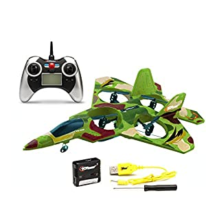 Top Race® F22 Fighter Jet 4 Channel Rc Remote Control Quad Copter RTF (Green Camouflage)