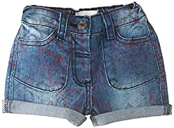 French Connection Kids Girls' Shorts (FCN1760_Light Blue Stone Wash_6-7Y)
