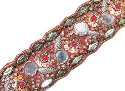 Hand Beaded Trim Stone Mirror Sequin Bullion 1.25Yd