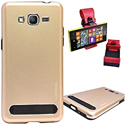 DMG Motomo Ultra Tough Metal Shell Case with Side TPU Protection for Samsung Galaxy Grand Prime G530H (Gold) + Car Steering Holder