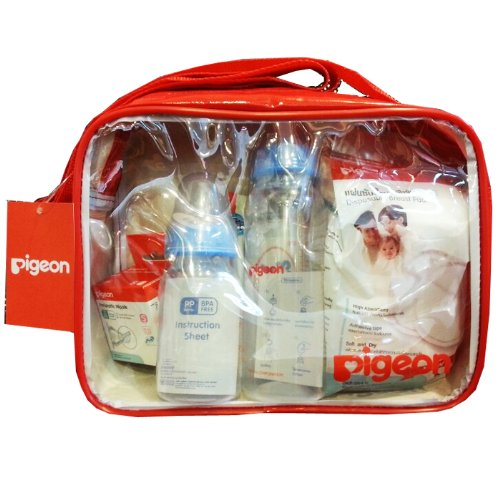 Pigeon Newborn Gift Set With Cute Red Bag Baby Bottles Nipples Baby Wipes front-1015347