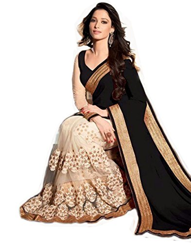 Black and Golden Georgette Saree
