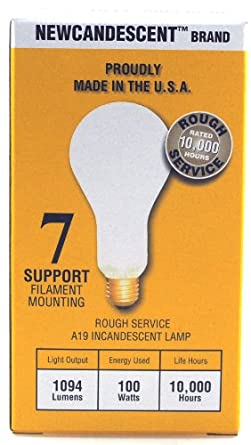 Newcandescent, PACK of 12 Incandescent 100-Watt Rough Service Frost A19 Light Bulb. 10,000 Hours Life 1094 Lumen. Made in the USA