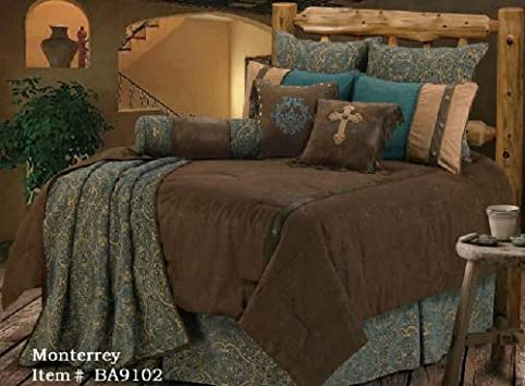 Unique Western Bedding Tooled Turquoise Monterrey Piece King