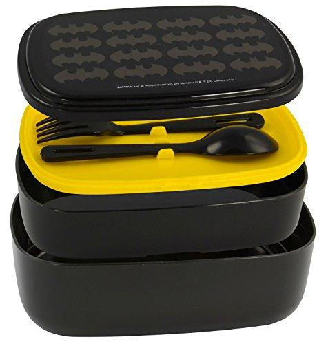 Batman 0122035-Fiambrera, Bento Box, Murciélago Con Cubiertos y entre Tapa