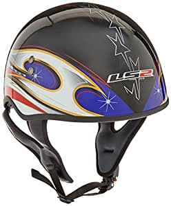 """LS2 Helmets HH566 """"A"""" Half Helmet with Colors Graphic and Sun Visor (Gloss Black, X-Large)"""