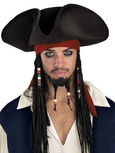 Jack Sparrow Original Deluxe Hat with Beaded Braids Costume Accessory (Jack Sparrow Wig compare prices)