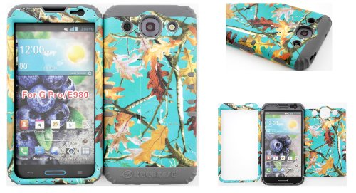 Lg Optimus G Pro E980 Teal Camo Mossy Leaf Branch Hard Plastic Snap On + Grey Silicone Kickstand Cover Case front-933293