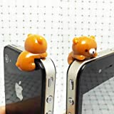 ZOEAST Adorable Brown Hanging Rilakkuma Bear Dust Plug 3.5mm Phone Accessory Cell Phone Plug iPhone Dust Plug...