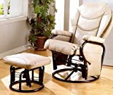 Modern Bone Leatherette Cushion Glider Rocker Chair w/Ottoman