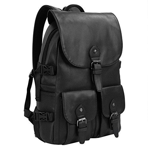 Koolertron-Mochila-de-Cuero-Sinttico-Comercial-Moda-Multi-bolsillo-Morral-de-Hombre-para-14-Ordenador-Porttil-MacBook-iPhone-iPad-y-Tableta-de-Samsung-para-Trabajo-Escuela-Fotografa-Viajes-Acampada