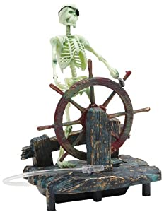 Penn plax action air skeleton at the wheel for Fish tank decorations amazon