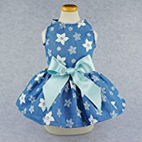 Fitwarm Stylish Floral Denim Dog Dress for Pet Clothes Vest Shirts Cat Apparel, Blue