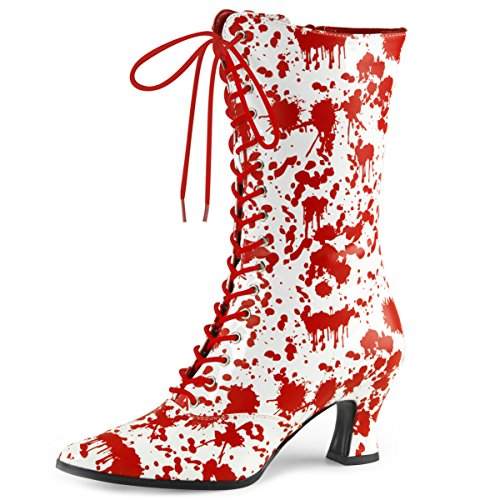 Womens White Lace Up Boots Red Bloody Print Costume Boots Zip 2 3/4 Inch Heels