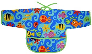 Mimi the Sardine Coated Organic Cotton Messy Baby Bib with Sleeves, Ocean