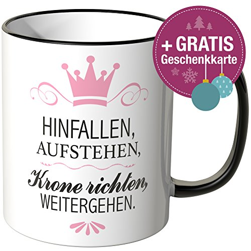 wandkings tasse spruch hinfallen aufstehen krone. Black Bedroom Furniture Sets. Home Design Ideas