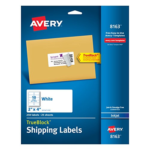 Avery Shipping Labels with TrueBlock Technology, 2 x 4, White, 250/Pack, PK – AVE8163