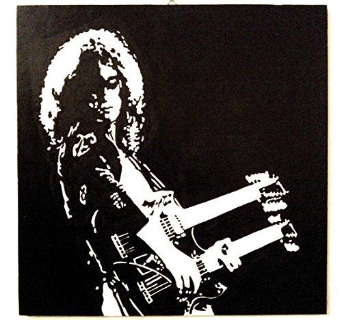 JIMMY PAGE LED ZEPPELIN QUADRO MODERNO PANNELLO LEGNO MDF DIPINTO A MANO BLACK & WHITE EFFECT (formato 50 x 50 cm)