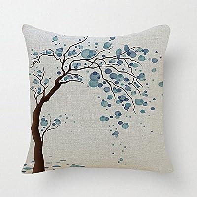 "Lyn Cotton Linen Square Throw Pillow Case Decorative Cushion Cover Pillowcase for Sofa 18 ""X 18 "" Lyn-82"